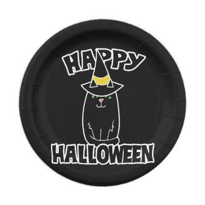 Happy Halloween black cat Paper Plate - halloween decor diy cyo - halloween decorations black cat