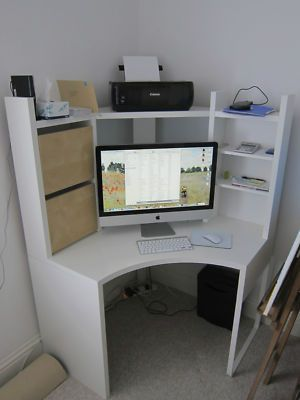 IKEA MICKE - Corner Workstation Desk Unit - White with ...