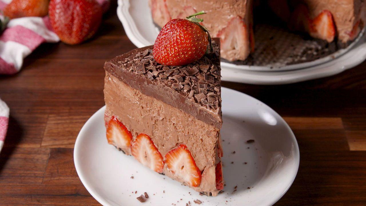 Strawberry Chocolate Mousse Cake  - Delish.com