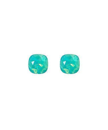 Another great find on #zulily! Green Square Stud Earrings With Swarovski® Crystals #zulilyfinds