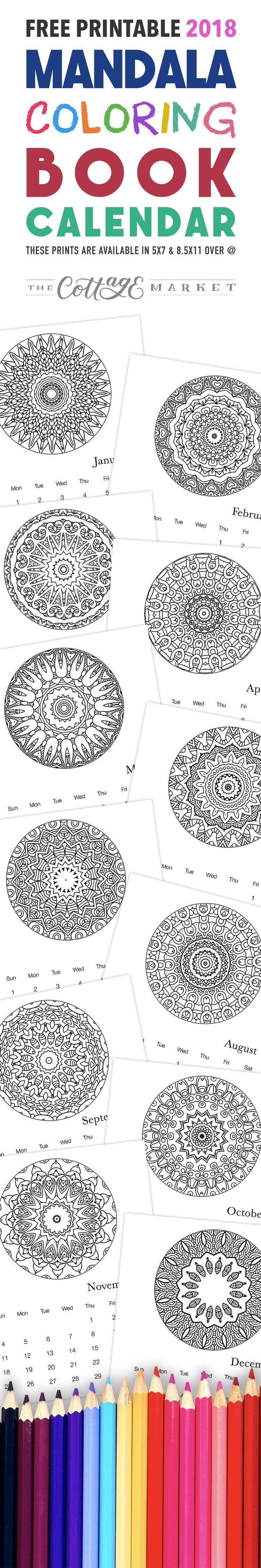 Free printable mandala coloring book calendar mandala