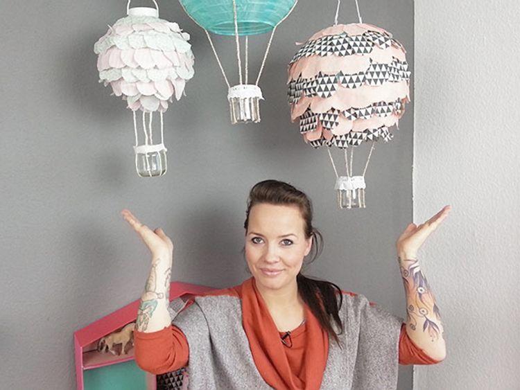 Lampions Kinderzimmer ~ Diy anleitung: heißluftballon lampe für das kinderzimmer basteln