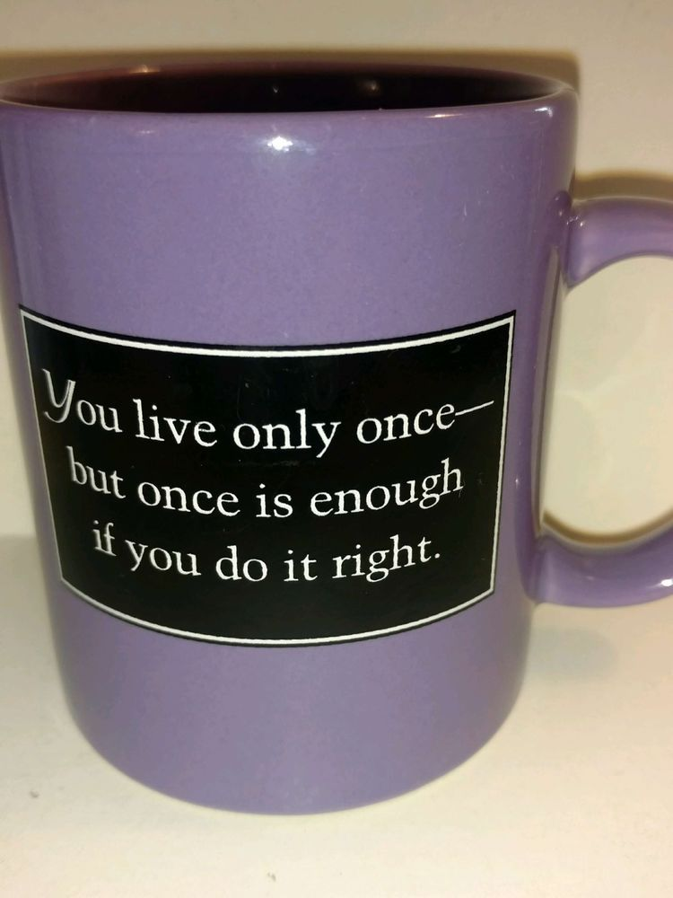 Purple Collectible Coffee Mug Cup You Only Live Once Motivational Inspirational
