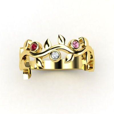 Round Diamond Palladium Ring with Pink Tourmaline & Pink Sapphire - lay_down