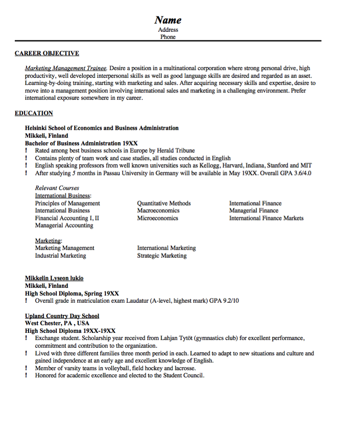 Sample Resume Marketing Management Trainee  HttpResumesdesign