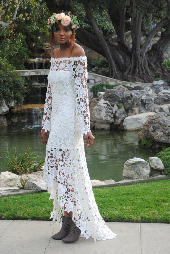 handmade BELL SLEEVE crochet lace bohemian wedding dress / off ...