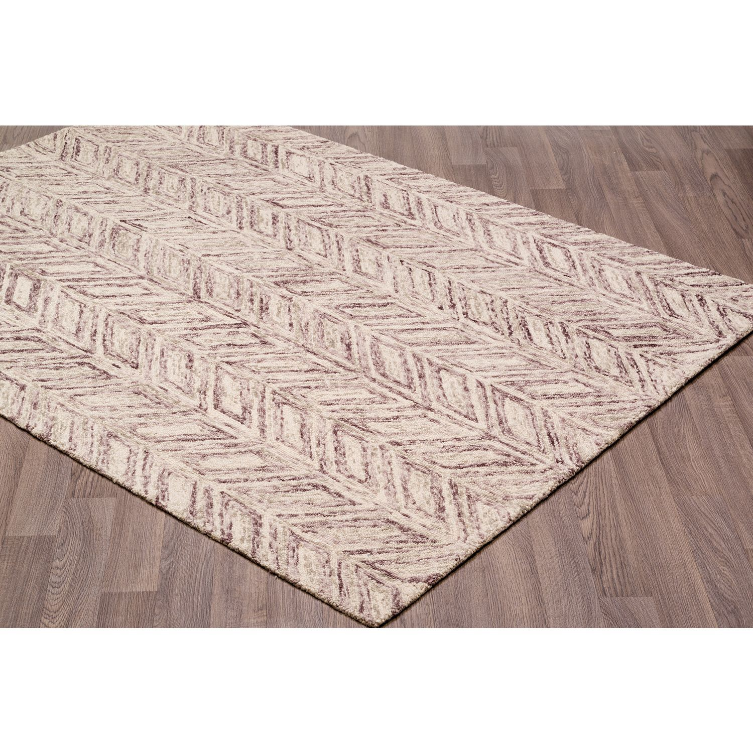 Contemporary Vines Plum Brown Wool Chevron Handmade Rug 7 6 X 9 6