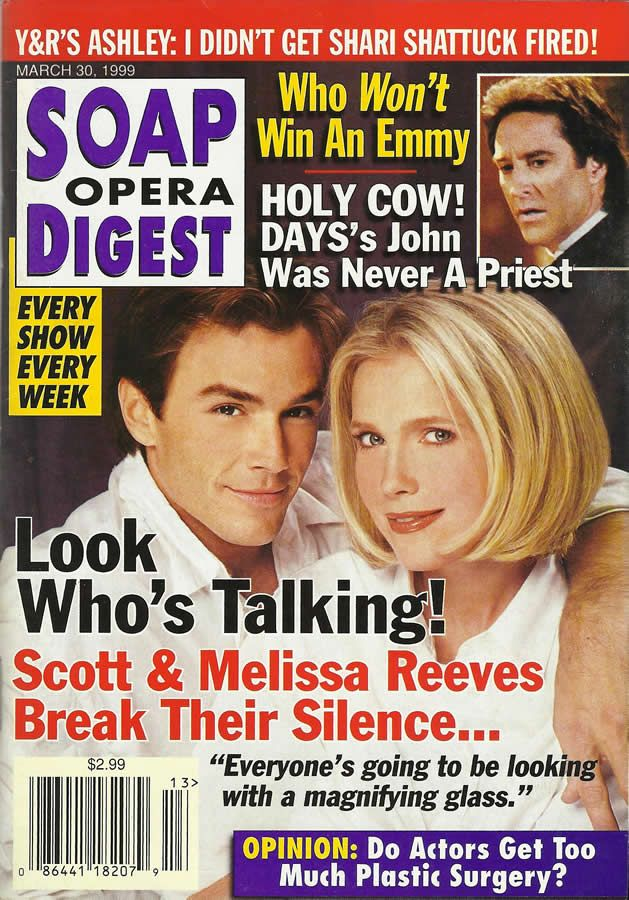 classicsodcovers:  Classic SOD Cover Date: March 30, 1999 Scott Reeves (Ryan, THE YOUNG & THE RESTLESS) & Melissa Reeves (ex-Jennifer, DAYS OF OUR LIVES)(inset) Drake Hogestyn (John, DAYS OF OUR LIVES)