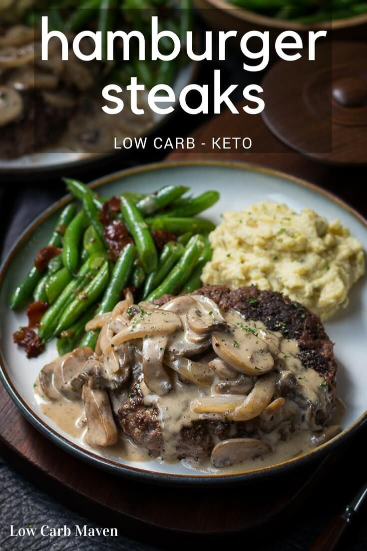 Hamburger Steak An Easy Ground Hamburger Meat Recipe Topped With Mushroom Gravy Makes The Perfe Hamburger Steak And Gravy Meat Recipes Low Carb Dinner Recipes