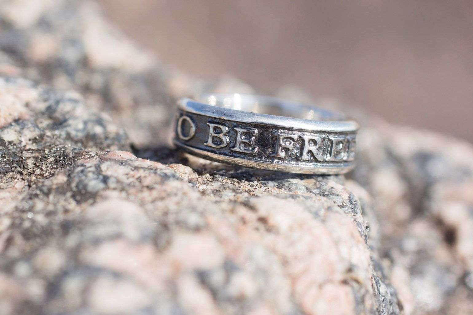Engraved Silver ring mens ring quote ring born to be free