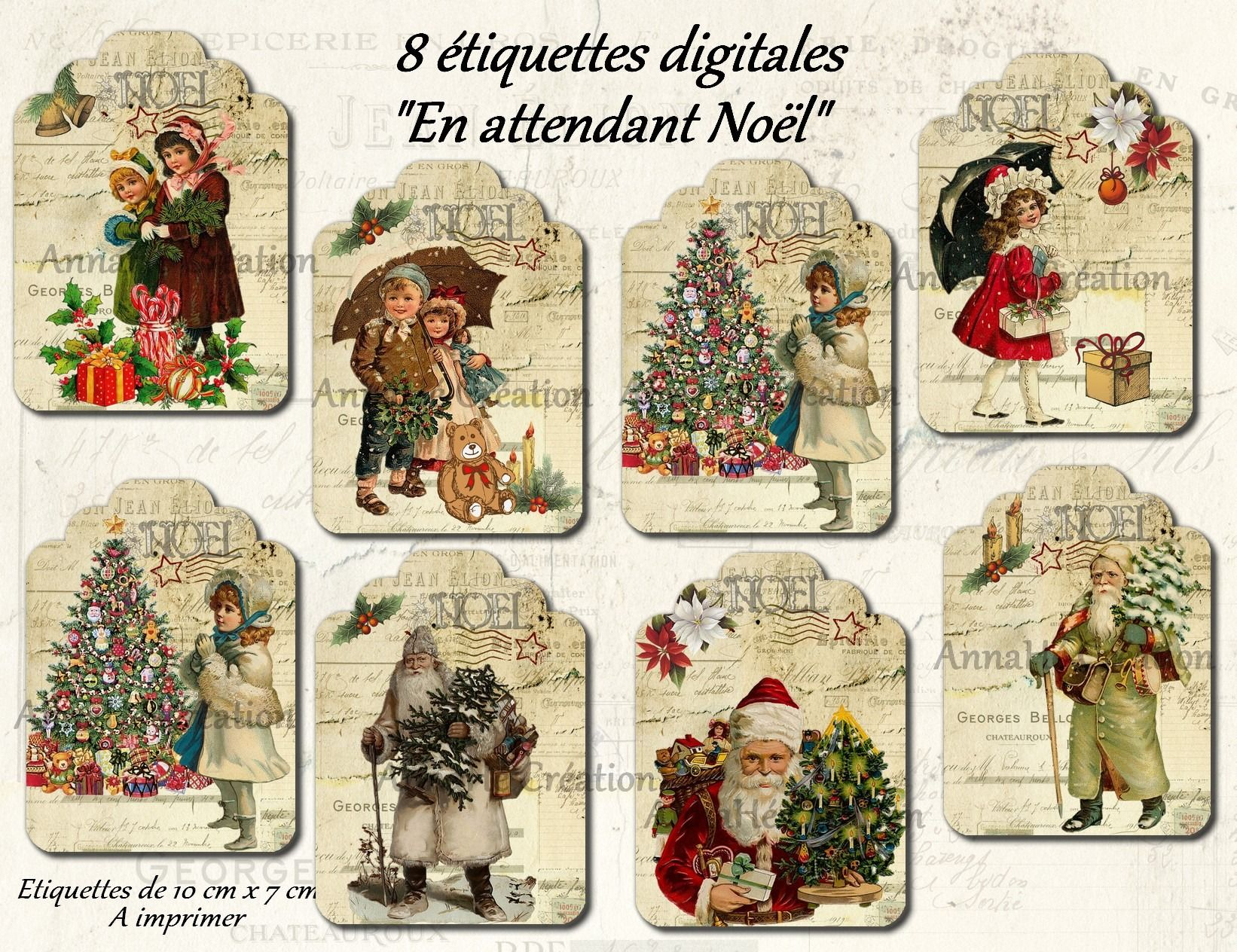 """Sehr 8 étiquettes digitales à imprimer """"En attendant Noël"""" image  ZZ31"""