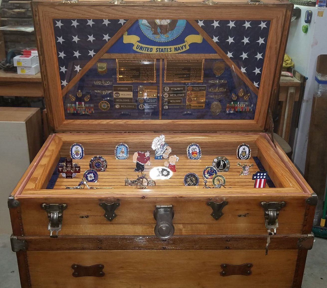 Antique trunk 820 used as navy retirement shadow box idea