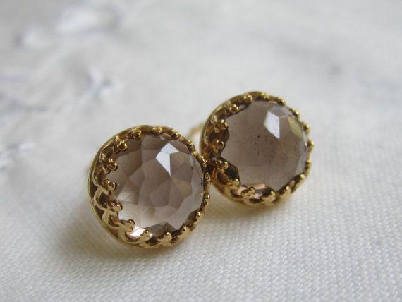 Smokey Quartz Stud Earrings Post By Eldortinajewelry 45 00 Bridesmaid Bridal