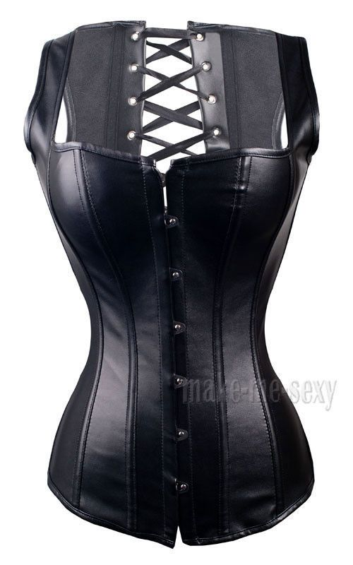 b372aac73e4 Goth Faux Leather CORSET Vegan Leather Size S-6XL Bustier Lace up ClubWear  A2628  other  HookEye