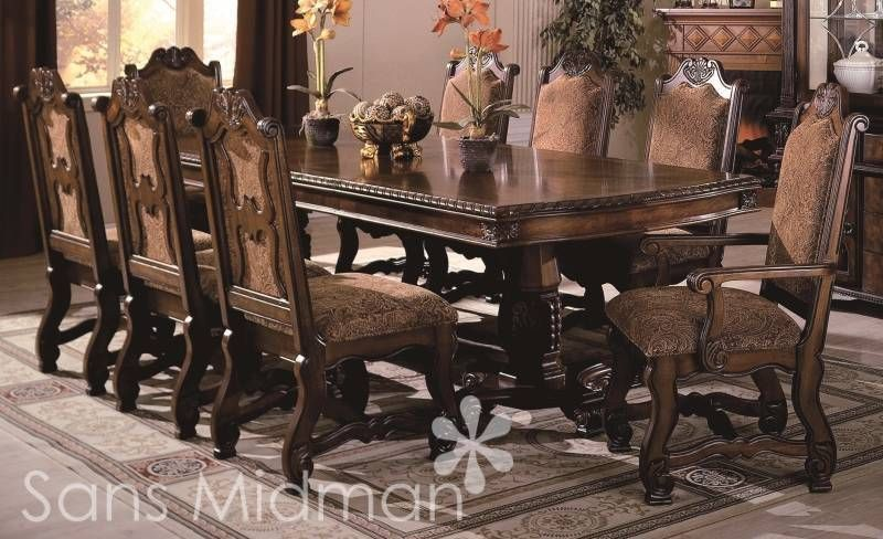 Exceptional New Furniture Formal 9 Piece Renae Dining Room Set Table W 2 Leaves 8 Chairs