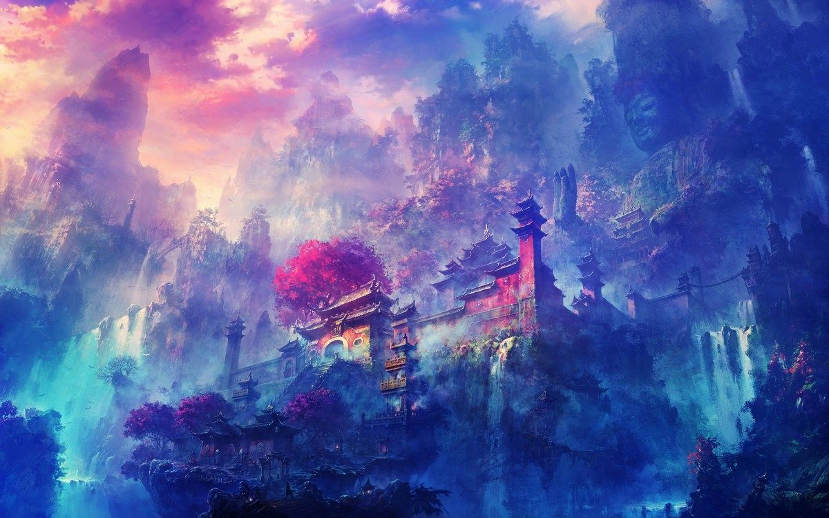 Anime Buddhist Temple HD Wallpaper