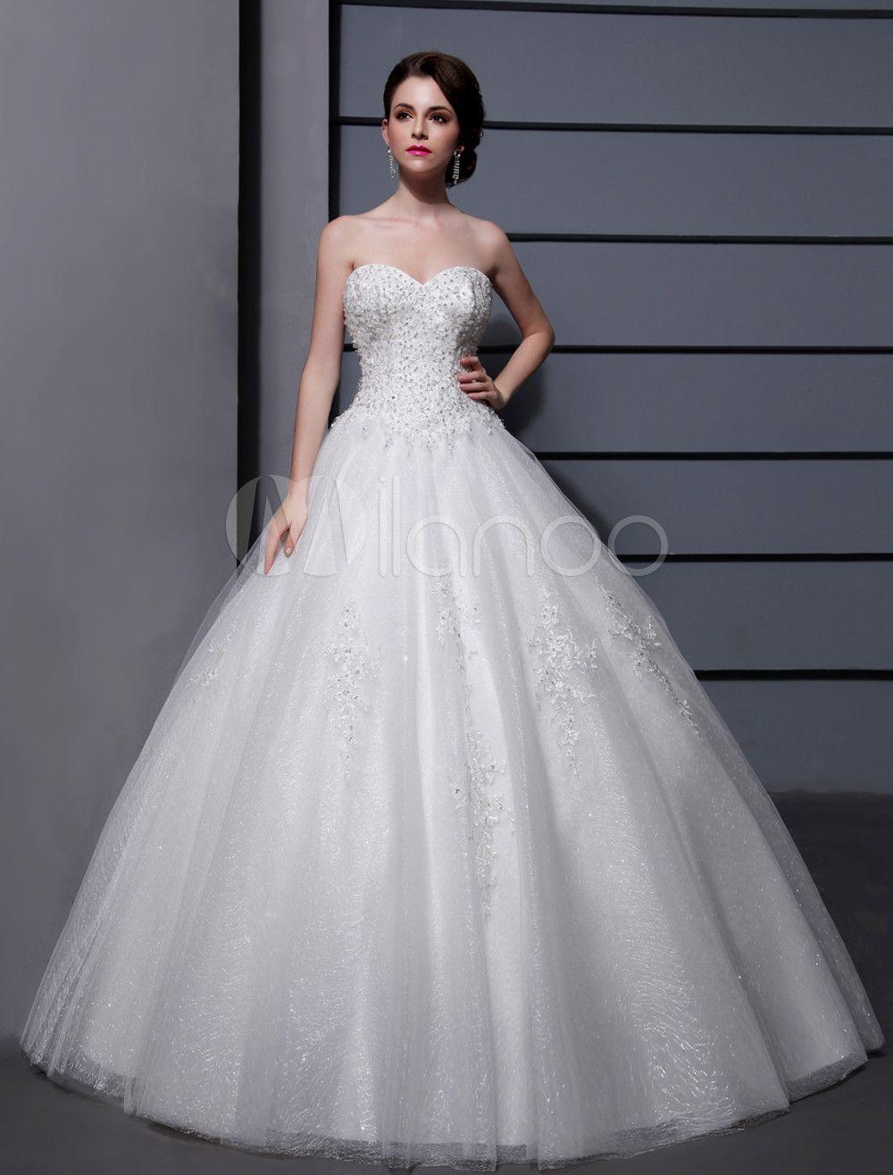 Wedding Dresses Ball Gown Strapless Bridal Dress Ivory