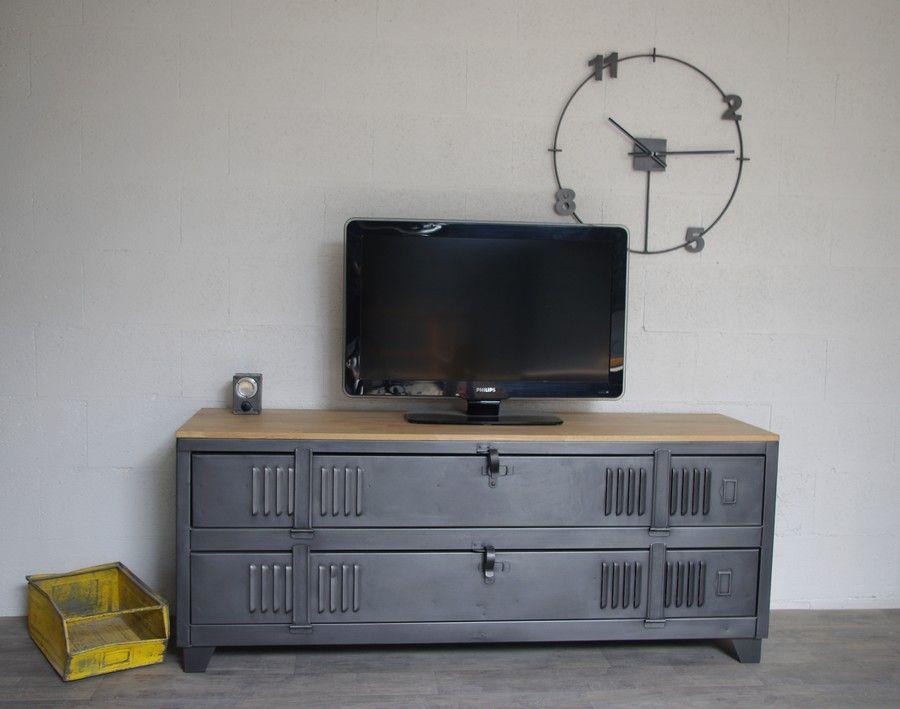 Meuble Tv Industriel Avec Ancien Vestiaire 2 Portes Ref Fresno Meuble Tv Industriel Buffet Style Industriel Mobilier De Salon