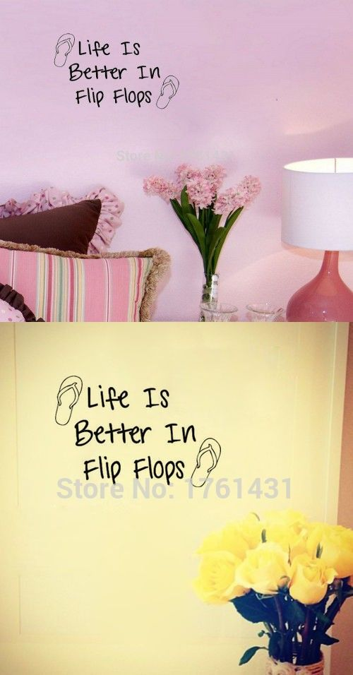 Life Is Better In Flip Flops Decor Vinyl Wall Decal Quote Sticker ...