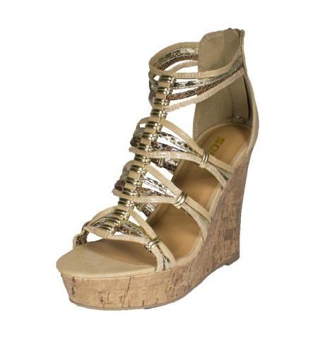 458a6643cfd Pam! By Soda Strappy Metal Ringed Platform Cork Wedge Sandal with Back  Zipper in Beige Combo