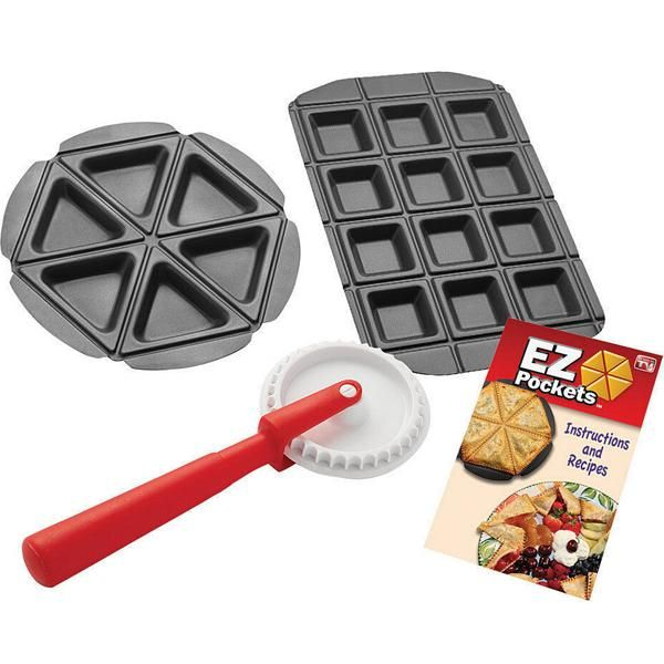 Description:EZ Pockets are as easy as pie. Now you can make individual pie pockets at home. Just place the dough in the EZ Pockets pie pan, fill it with your fa