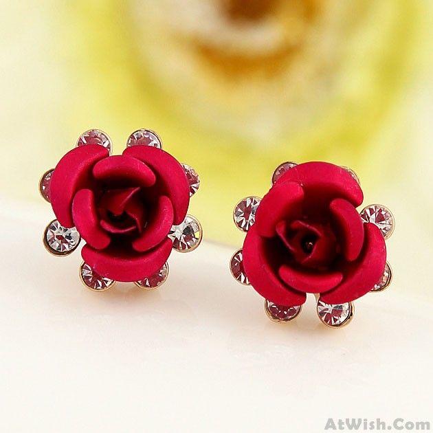 Fresh Rose Flower Rhinestone Elegant Lady Earring Studs Only 11 99 Stud Earrings Women S Earrings Fashion Earrings