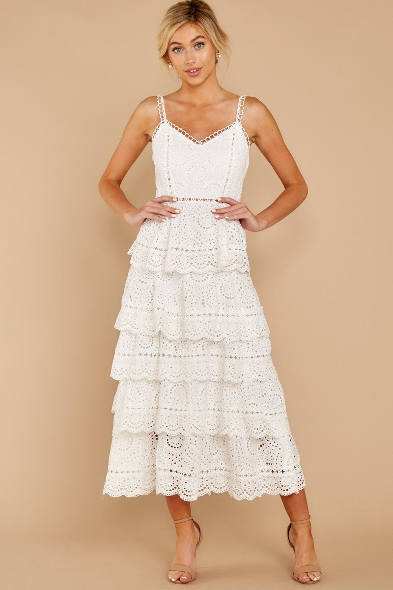 01476a21bbe Stunning White Lace Maxi Dress - Sleeveless Tiered Maxi - Dress -  96 – Red  Dress