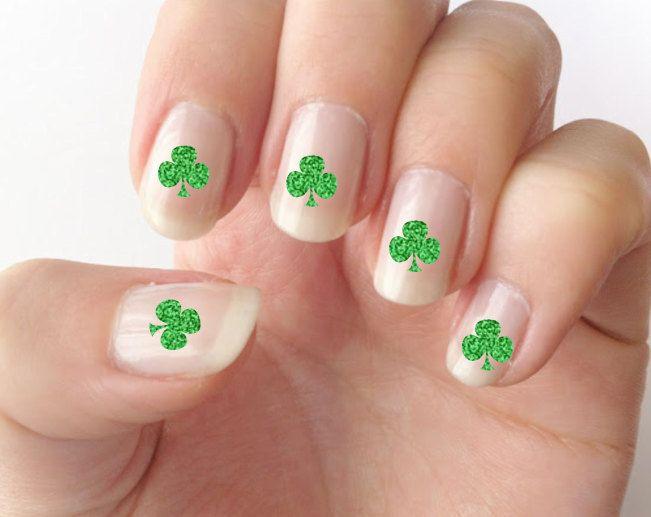 Nail decals, St. Patrick's day nails, shamrock nail decals, nail art, - Nail Decals, St. Patrick's Day Nails, Shamrock Nail Decals, Nail Art
