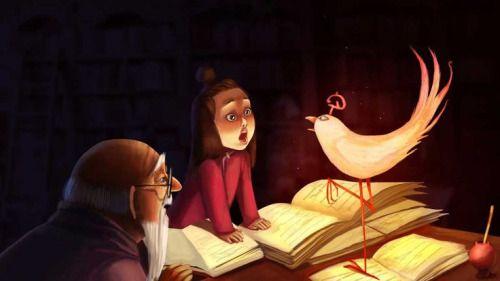 Entre libros, en la biblioteca, me he encontrado al pájaro de la curiosidad (ilustración de Irina Ertakhanova)