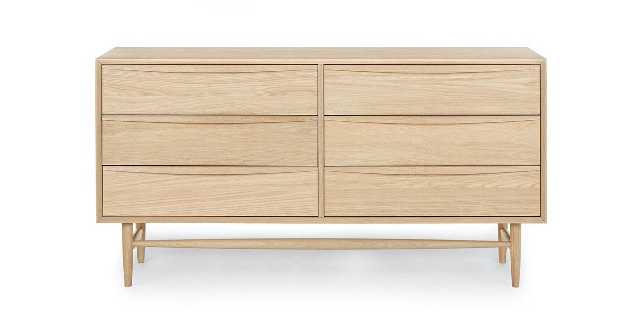 Lenia White Oak 6 Drawer Double Dresser Double Dresser Mid Century Modern Dresser Modern Dresser [ 675 x 1300 Pixel ]