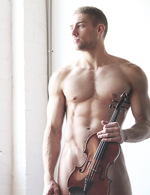 Naked guy playing violin