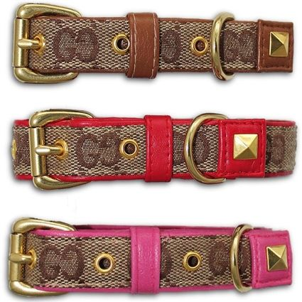 6b8458e9e26b96 A luxury designer dog or cat collar created from genuine Gucci Monogram  true grade designer fabric with your choice of leather colors.