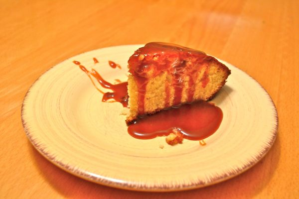 Vanilla Bean Cake with Salted Caramel Sauce