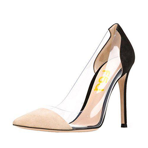 fbc1b9efb18 FSJ Women Super Sexy Transparent Pointy Toe Pumps Stilettos High Heels  Wedding Shoes Size 5 BlackBeige
