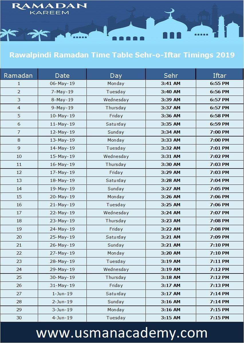 Rawalpindi Ramadan Timings 2019 Calendar Rawalpindi Ramazan Sehar