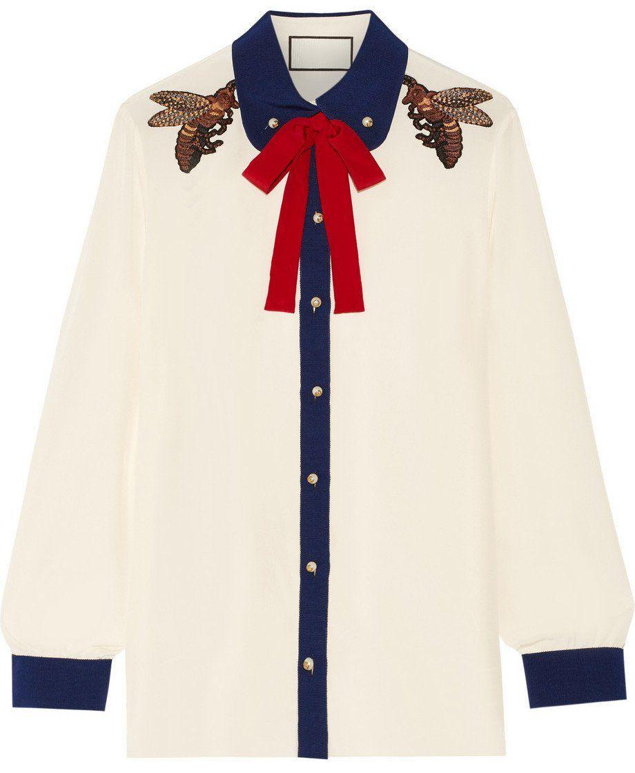 95bd69b7c Bee Embellished Silk Blouse in 2019 | Women's fashion | Gucci shirts ...