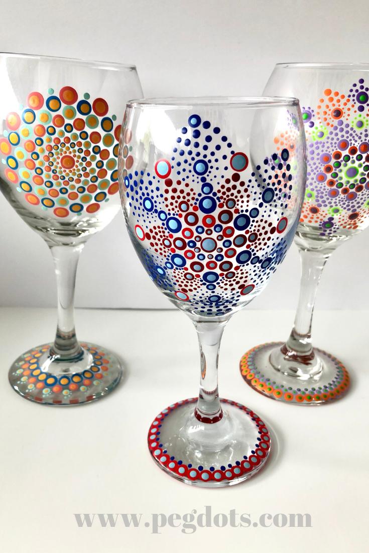 Beautiful, unique hand painted mandala wine glasses