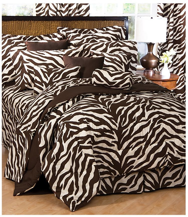Attractive Zebra Brown/Tan Bedding Collection Comforter Set