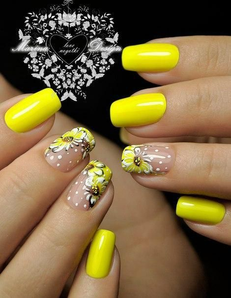 Bright Summer Nails Cheerful Nails Festive Nails Flower Nail Art