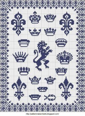 crowns cross-stitch - free by Maude Lang