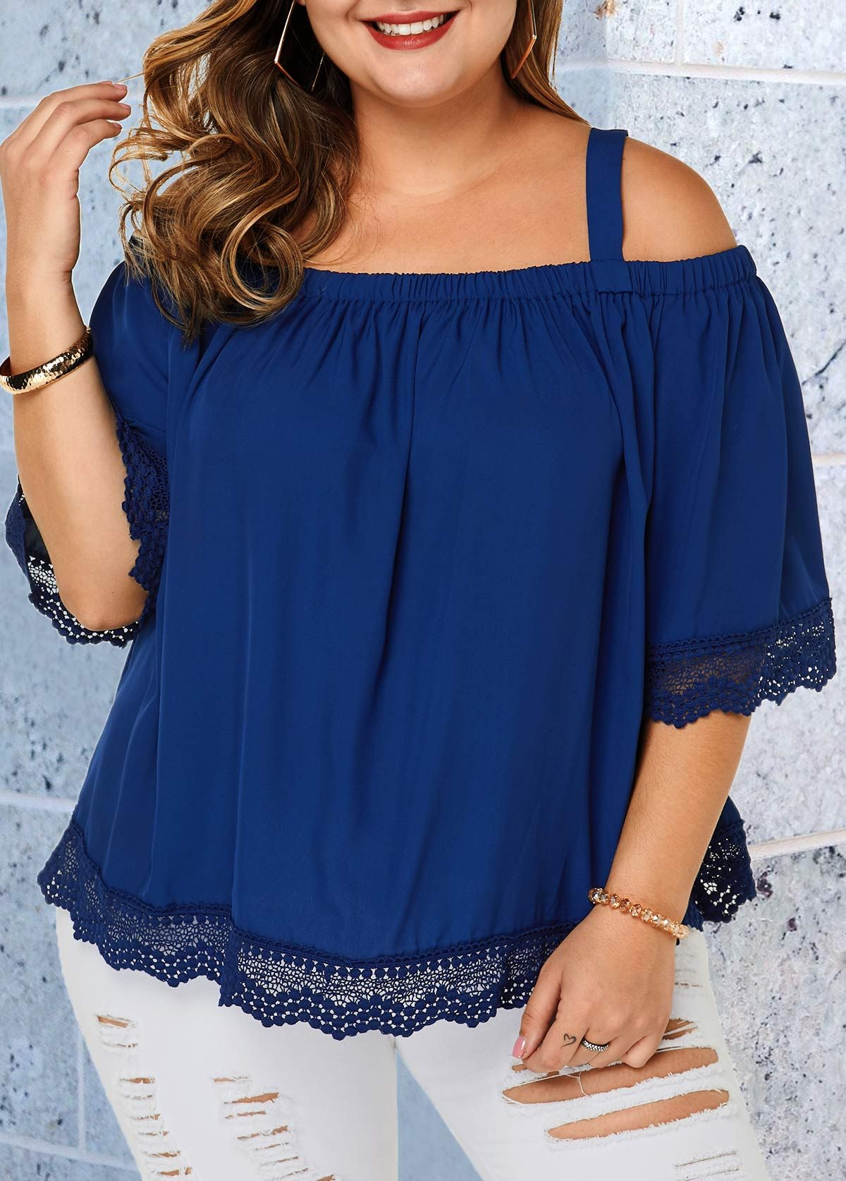 Plus Size Navy Blue Strappy Cold Shoulder Blouse | Rosewe.com - USD $28.03 2