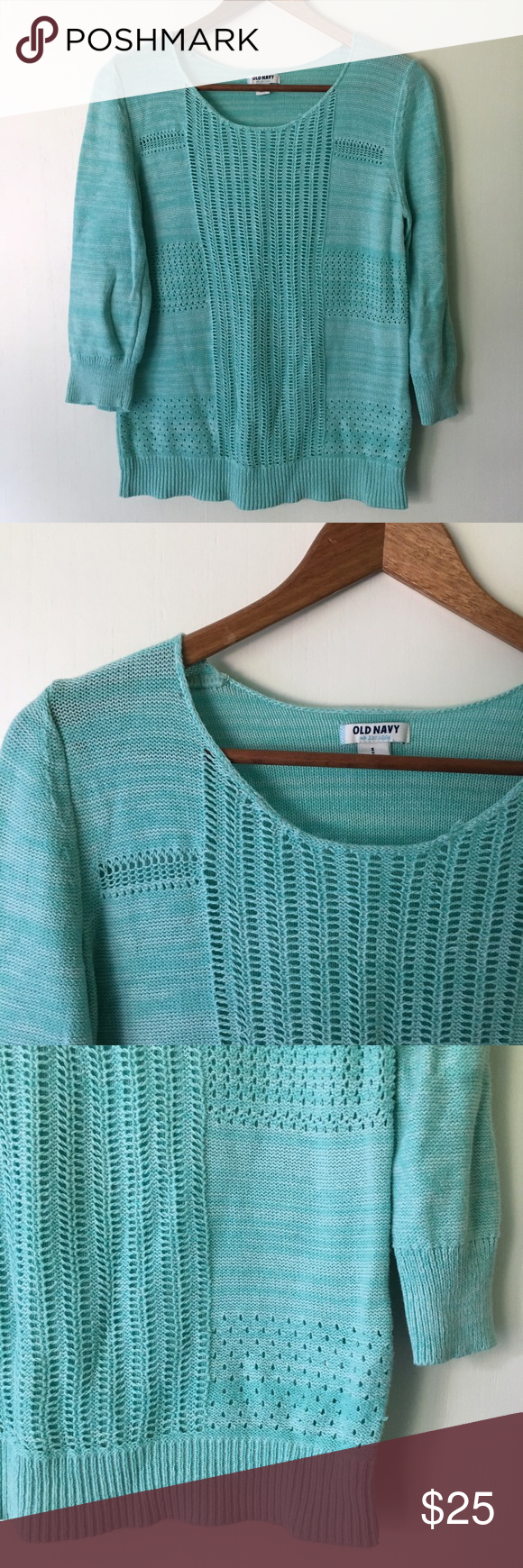 Old Navy // Open Knit Summer Sweater - aqua | Summer sweaters ...