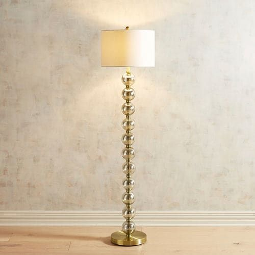 Sophia stacked glass floor lamp floor lamp drum shade and pure white real lamps have curves and our sophia stacked glass floor lamp has them in all the right places with its pure white drum shade and clear glass ball mozeypictures Image collections