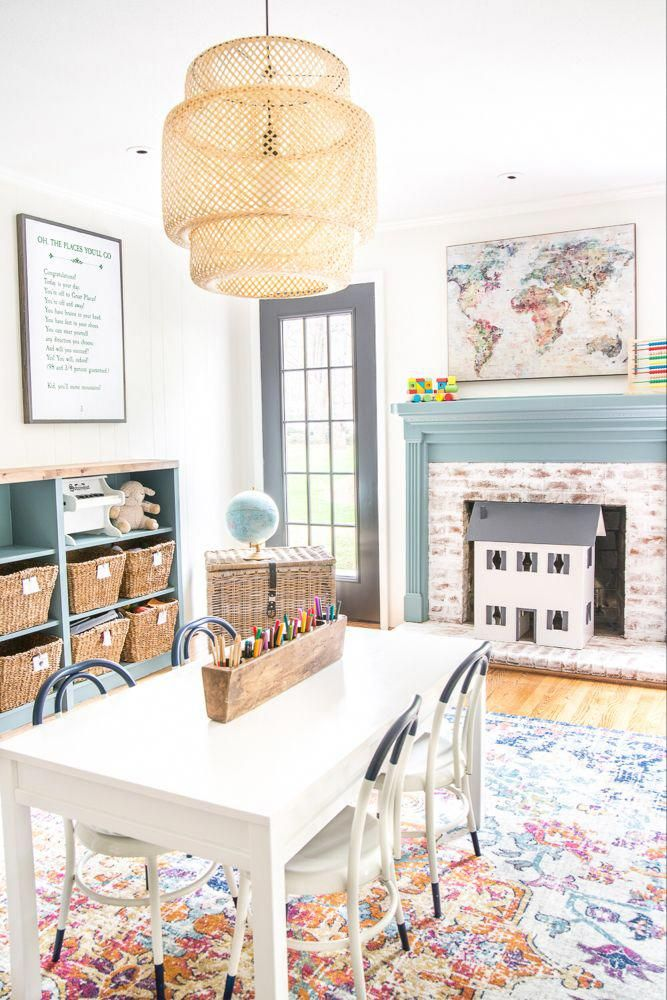A dated, unorganized playroom gets a bright and whimsical makeover with organizational strategies, ideas for adding function, and DIY-able projects to create the perfect kid's space on a budget. #kidsroom #playroom #kidsdecor #toyorganizing #HomeDecorBedroom