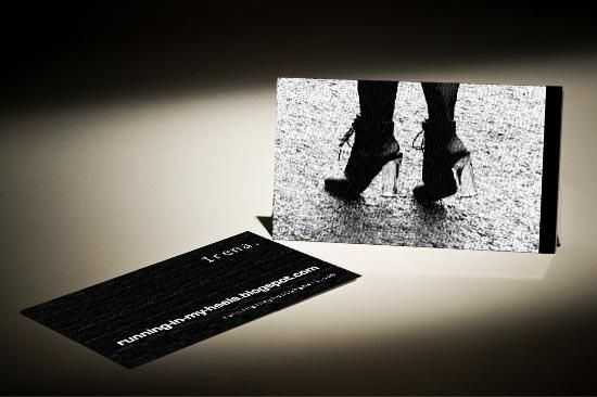 Fashion blogger with high heels on business cards made of plastic fashion blogger with high heels on business cards made of plastic reheart Choice Image