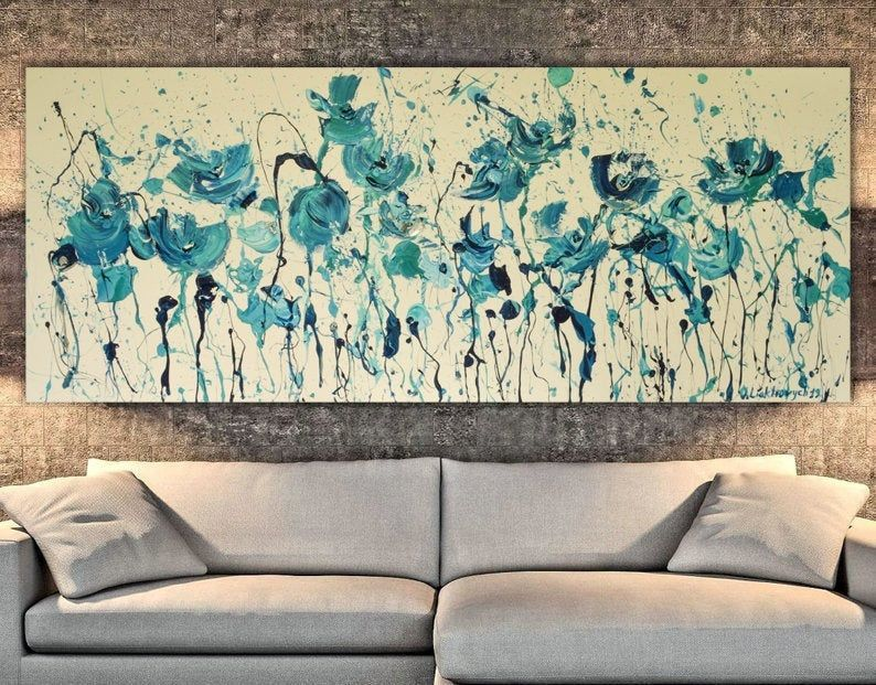 Extra Large Wall Art Oversized Blue Canvas Extra Long Narrow Etsy Extra Large Wall Art Horizontal Wall Art Custom Wall Art
