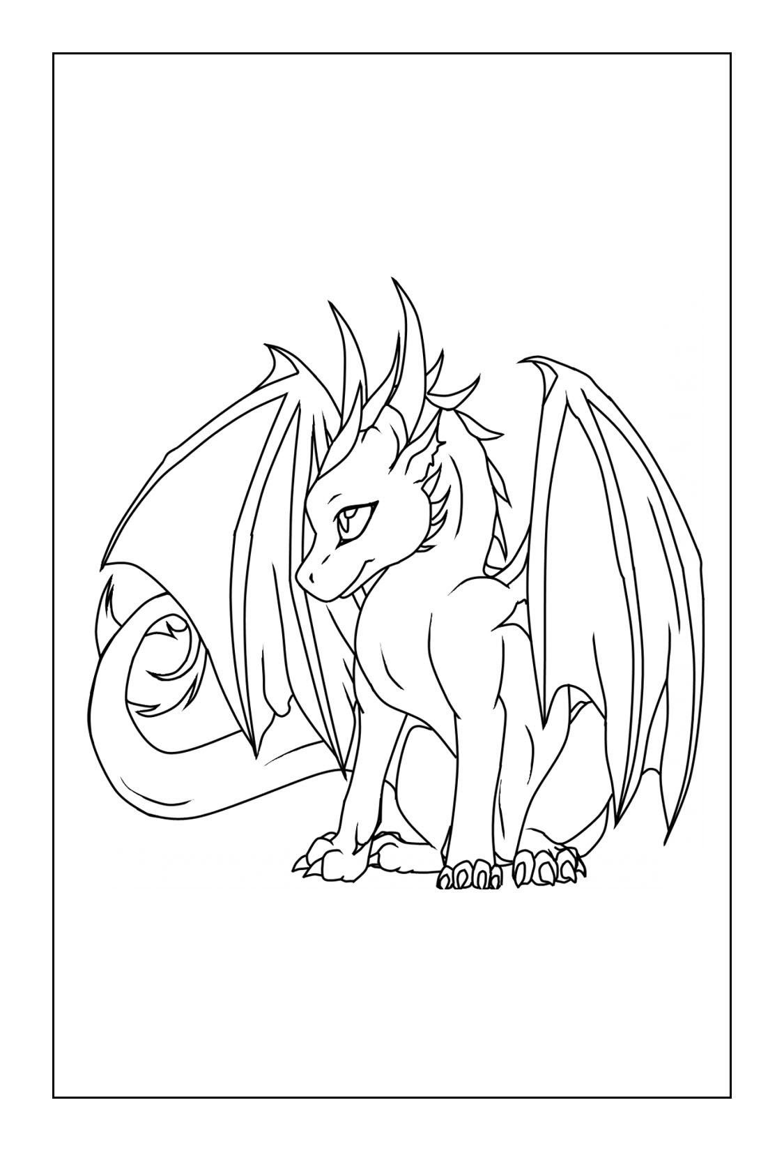 Dragon Coloring Pages Easy Dragon Drawings Dragon Coloring Page
