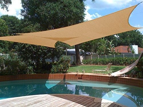 Shade&Beyond Sun Shade Sail Rectangle 10'x13' UV Block for Yard Patio Lawn Garden Deck Sand Color is part of Sun Shade garden - Brand Shade&BeyondColor SandFeatures High Quality Guarantee  Constructed of 185 gsm UV protected high density polyethylene (HDPE) shade fabric with strong stitched seam and durable stainless steel Drings in each corner( The edge is curved, not straight & Hardware sells separately, recommend 5 inch, 6 inch
