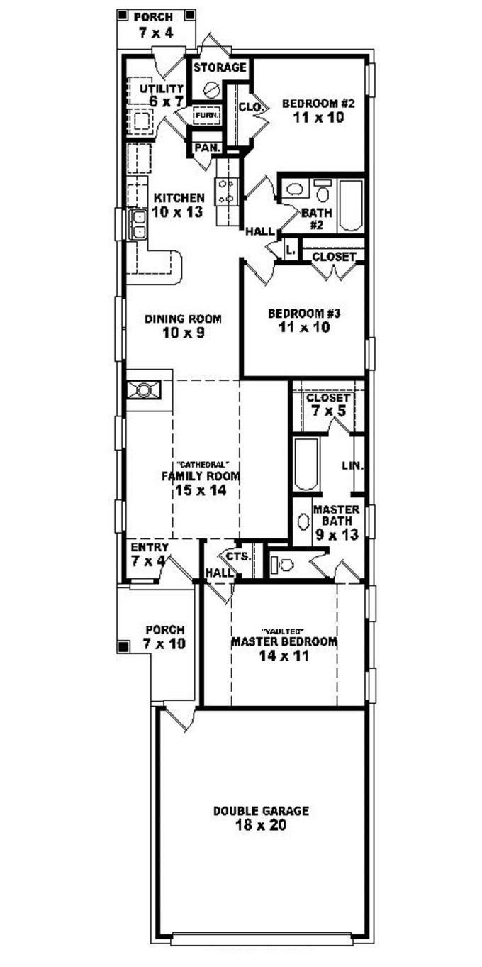 653501 warm and open house plan for a narrow lot for Apartment home plans for narrow lots