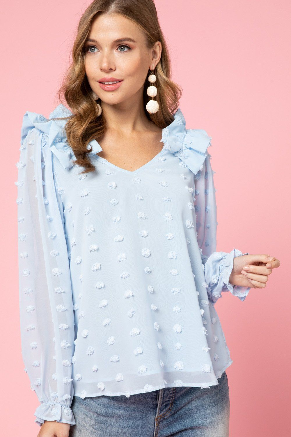 Blue Dotted Swiss Top pinkpoodle in 2020 Tops, Fashion